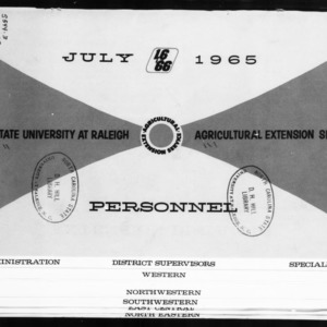 Extension Miscellaneous Publication No. 8: N.C. State University at Raleigh - Agricultural Extension Service Personnel