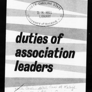Extension Miscellaneous Publication No. 13: Area Development in North Carolina - Duties of Association Leaders in Area Development