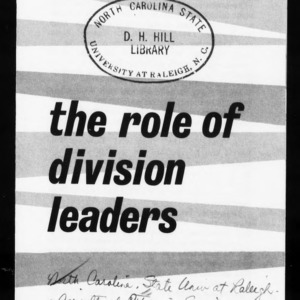 Extension Miscellaneous Publication No. 14, Revised: Area Development in North Carolina - The Role of Division Leaders in Area Development