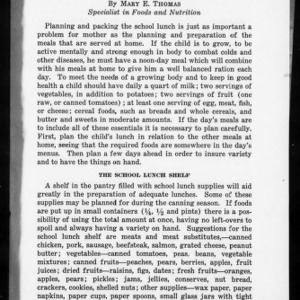 Extension Miscellaneous Pamphlet No. 17: The School Lunch
