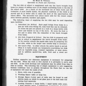Extension Miscellaneous Pamphlet No. 18: The Hot Lunch at School