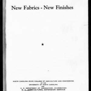 Extension Miscellaneous Pamphlet No. 109: New Fabrics -- New Finishes