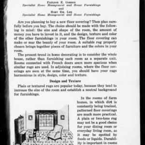 Extension Miscellaneous Pamphlet No. 111: Selection of Floor Coverings