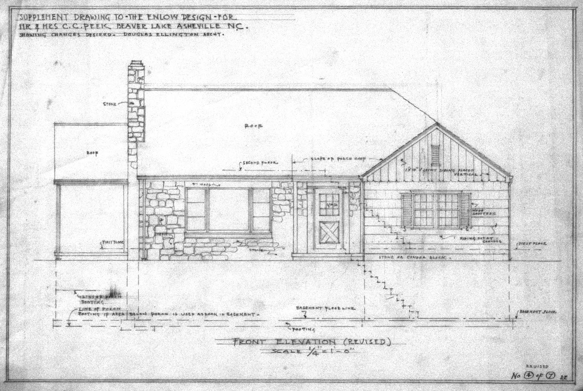 Front Elevation Drawing Of House : Supplement drawing to enlow design revised front