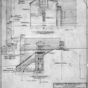 Studio Wing North and West Elevations, Details