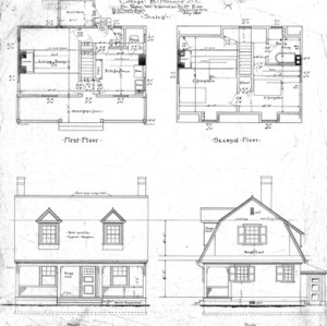 "Cottage ""M"" for Geo. W. Vanderbilt Esq.--First and Second Floor Front & Side Elevation"