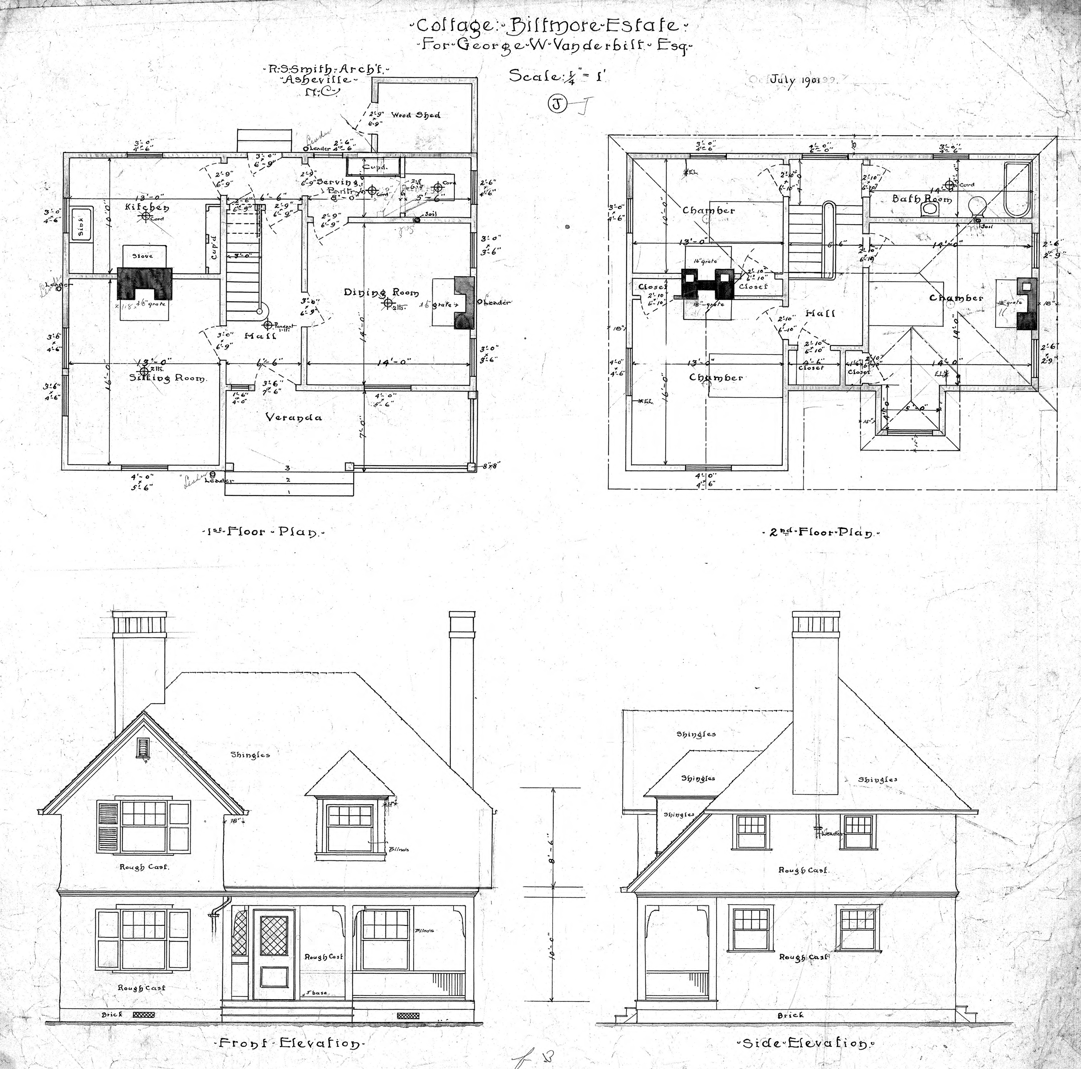 Elevation Floor Plan House : Cottage quot j for geo w vanderbilt esq first and second