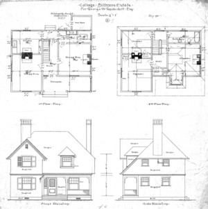 "Cottage ""J' for Geo. W. Vanderbilt Esq-- First and Second Floor Plan Front & Side Elevation"