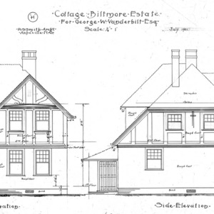 "Cottage ""H"" for Geo. W. Vanderbiltesq -- Front and Side Elevation"