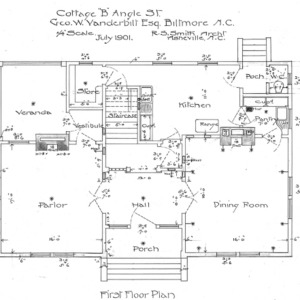 "Cottage ""B"" Angle St.--Geo. W. Vanderbilt Esq--First Floor Plan"