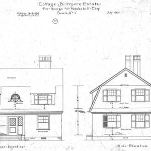 """Cottage """"O"""" for Geo. W. Vanderbilt Esq--Front & Side Elevation"""