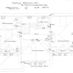"""Cottage """"A"""" for Geo. W. Vanderbilt Esq-- Chamber Plan"""