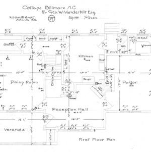 """Cottage """"A"""" for Geo. W. Vanderbilt Esq--First Floor Plan"""