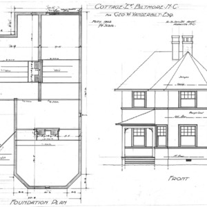 "Cottage ""E2"" for Geo. W. Vanderbilt Esq--Foundation Plan & Front"