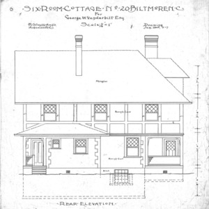 Six Room Cottage No. 20 for Geo. W. Vanderbilt Esq--Rear Elevation