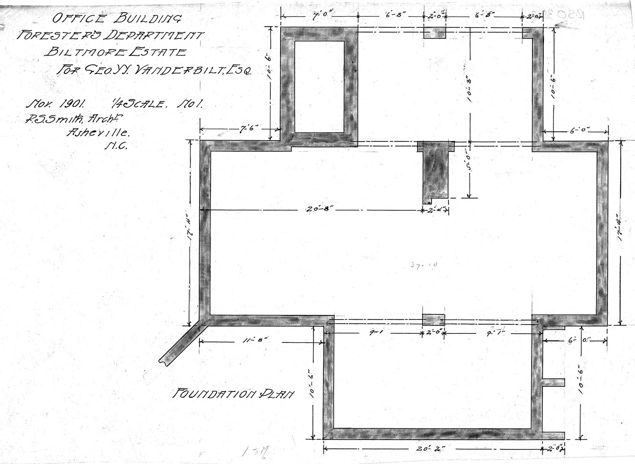 Office building foresters department for geo w for Foundation plan drawing