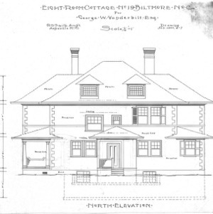Eight Room Cottage- No. 19 for Geo. W. Vanderbilt Esq--North Elevation- Drawing 2-7