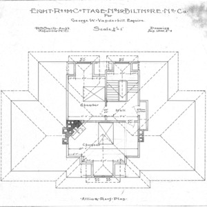 Eight Room Cottage- No. 19 for Geo. W. Vanderbilt Esq--Attic & Roof Plan- Drawing 2-4