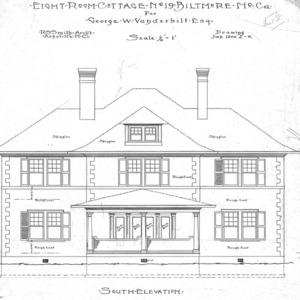 Eight Room Cottage- No. 19 for Geo. W. Vanderbilt Esq--South Elevation-Drawing 2-6