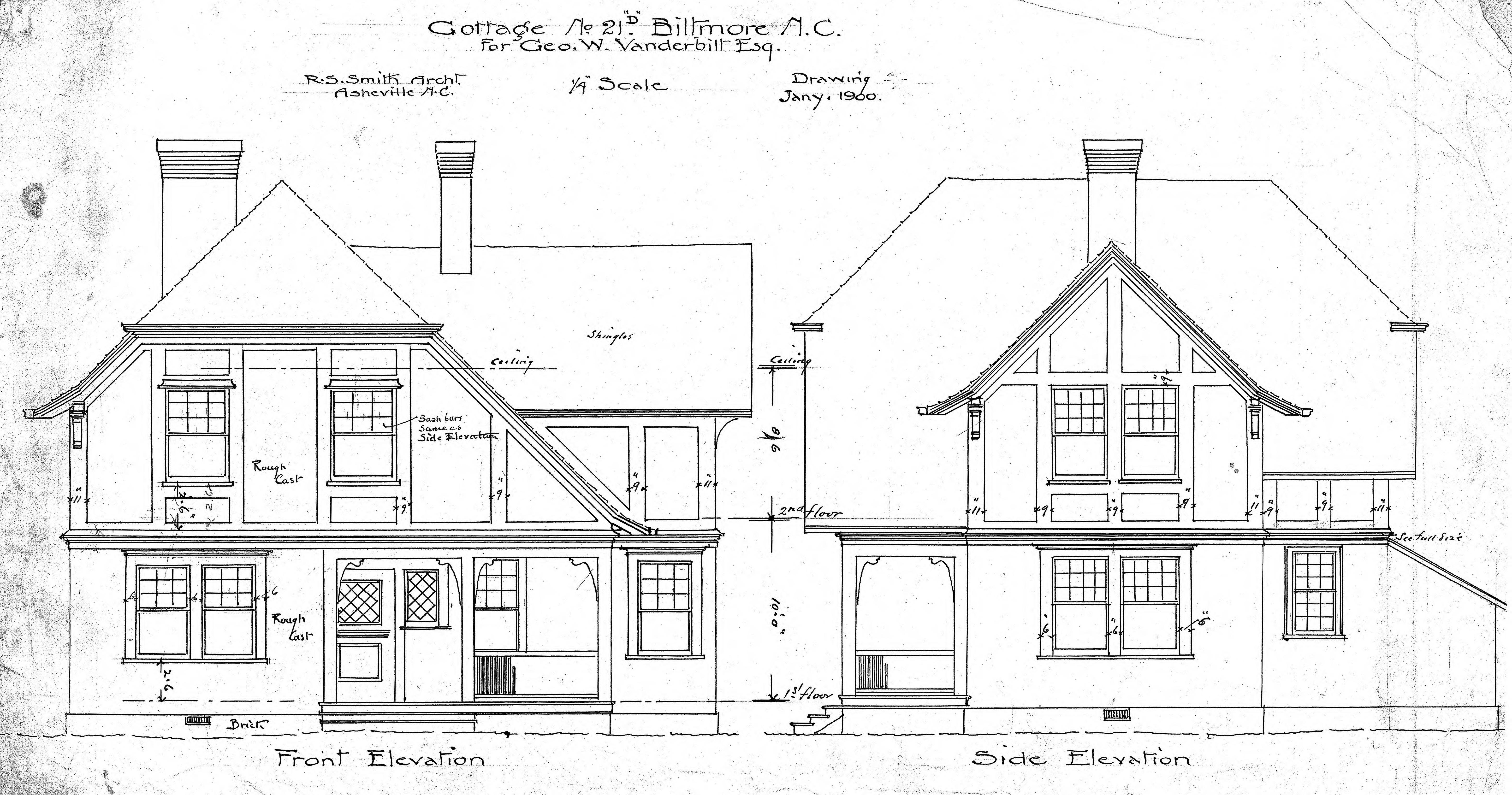 Front Elevation Side Elevation : Cottage no quot d front side elevation biltmore