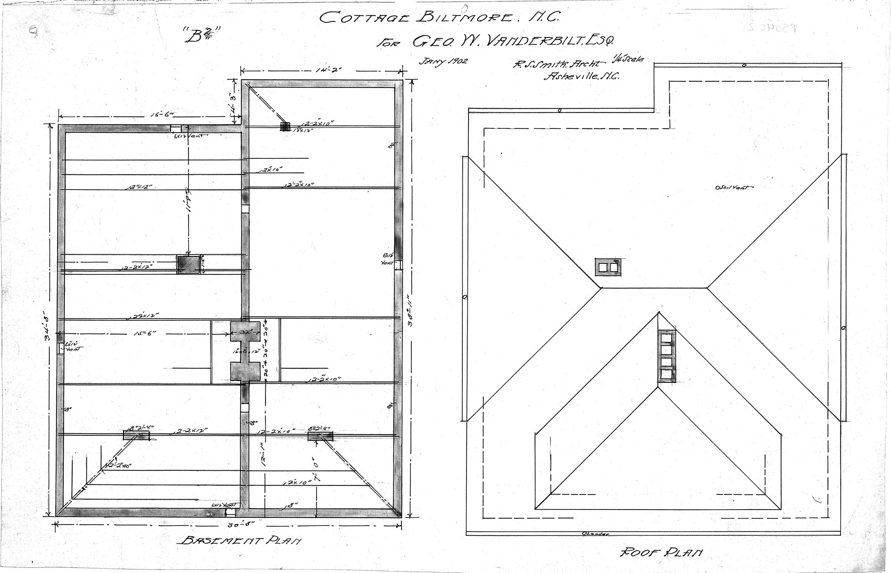 Cottage b2 basement roof plan biltmore village for Roof plans