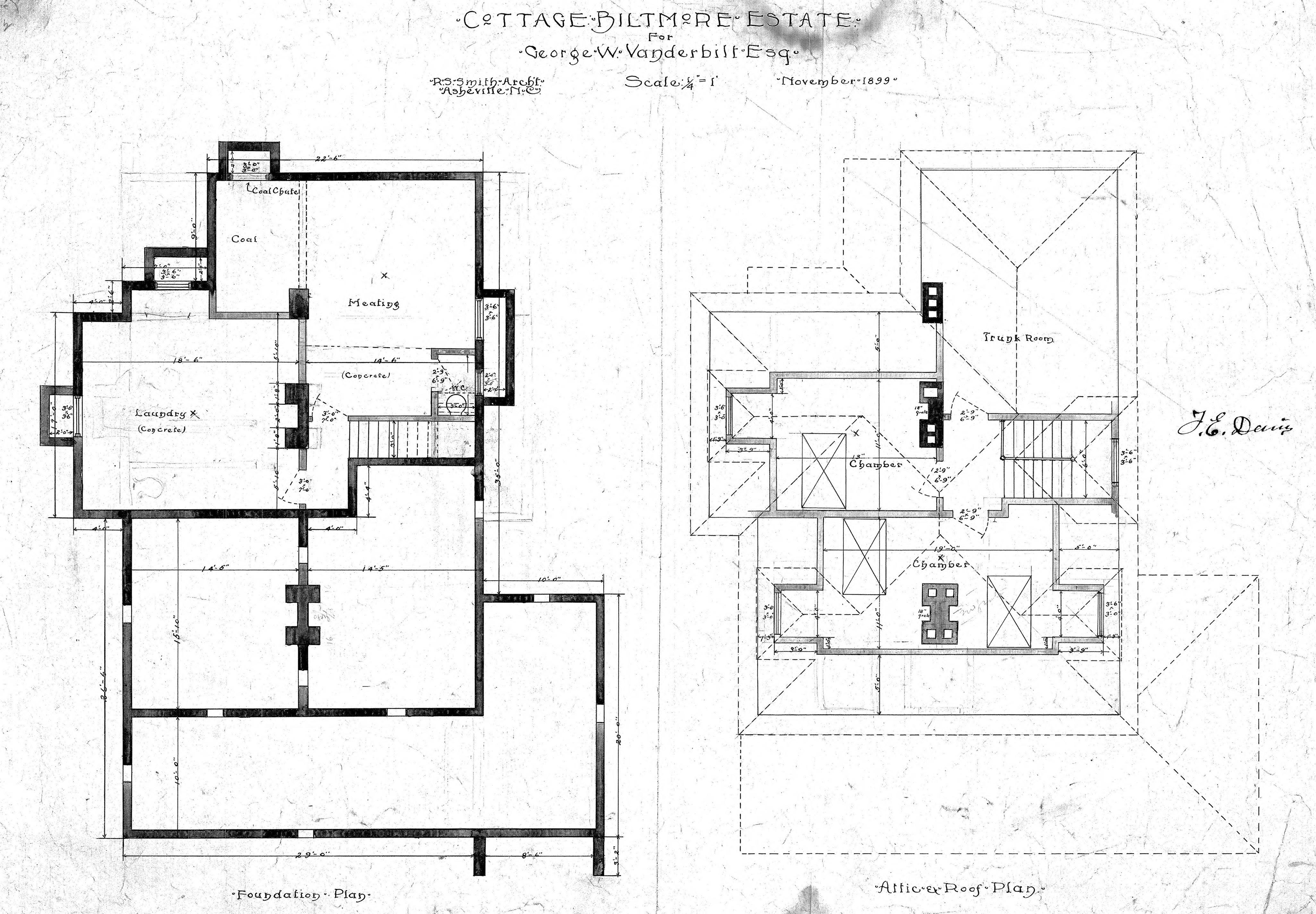 Cottage For Geo W Vanderbilt Esq Foundation Attic Roof