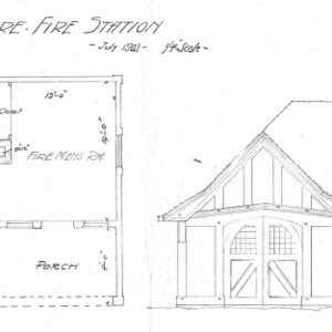 Biltmore Fire Station--Floor Plan & Elevation