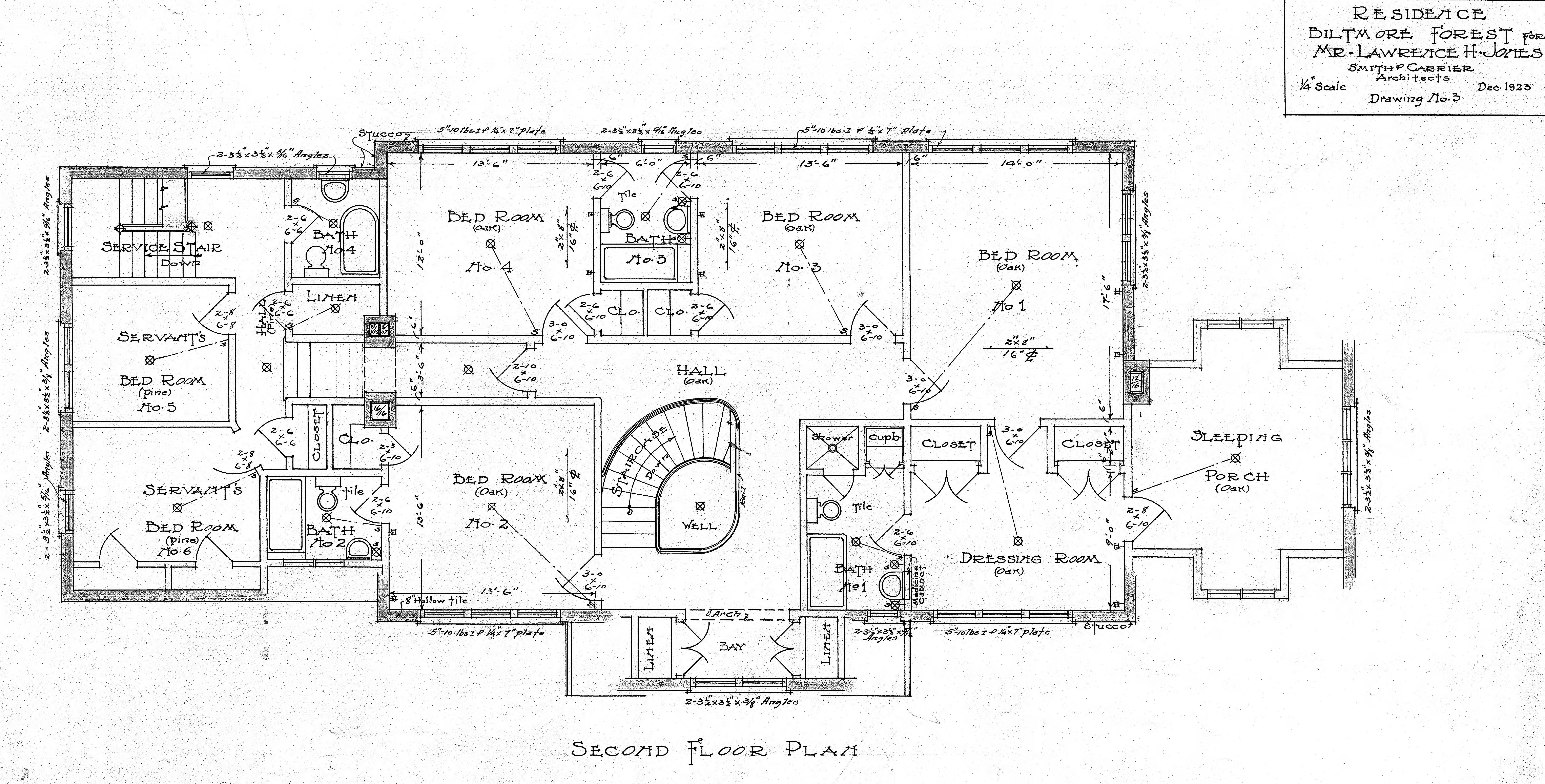 Residence biltmore forest mr lawrence h jones second for House sketch plan