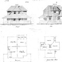 A Study for Cottage No. 6--Elevation & Floor Plans