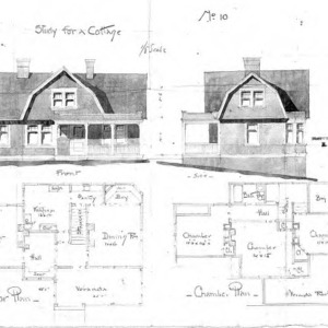Study for a Cottage - No. 10--Front & Side Elevation First Floor & Chamber Plan