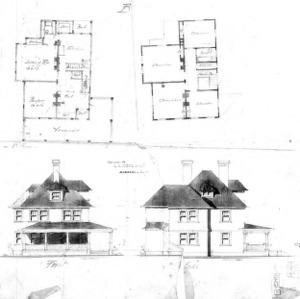 Cottage B--First & Second Floor Front & Side Elevation