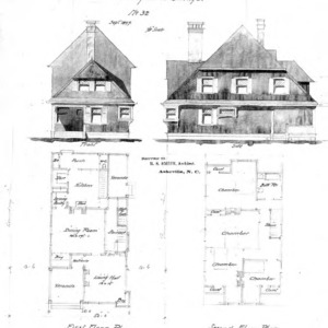 Study for a Cottage - No 32--Front & Side Elevations First & Second Floor Plan