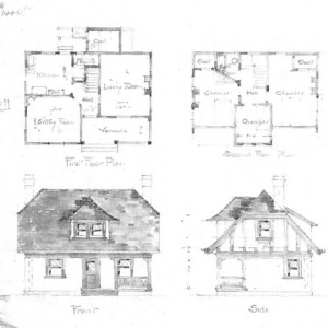 Unidentified Cottage First & Second Floor Plan Front & Side