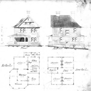 Cottage – Unidentified--Front & North Side First & Second Floor Plan