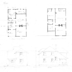 Cottage – Unidentified--First & Second Floor Plan Front & Side