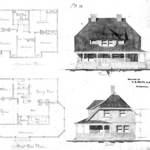 Cottage - No. 16--Chamber & First Floor Plan Front & Side