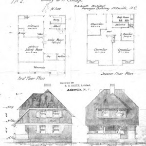 Study For a Cottage--No. 2--First & Second Floor Plan Side & Front