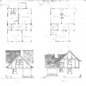 Cottage--Unidentified--First Floor & Chamber Plan Front & Side
