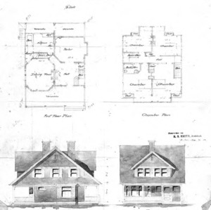 Sketch No. 31--First Floor & Chamber Plan Side & Front