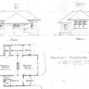 Proposed Foresters Office - Biltmore Estate--Side & Front Floor Plan