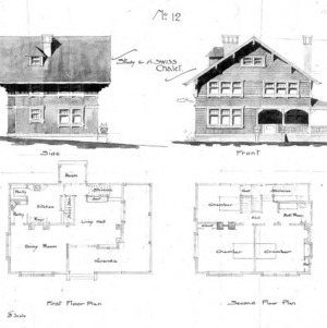 Study for a Swiss Chalet - No. 12--Side & Front First & Second Floor Plan