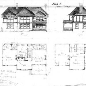 Sketch A - 7 Room Cottage--Front & Side Floor Plans