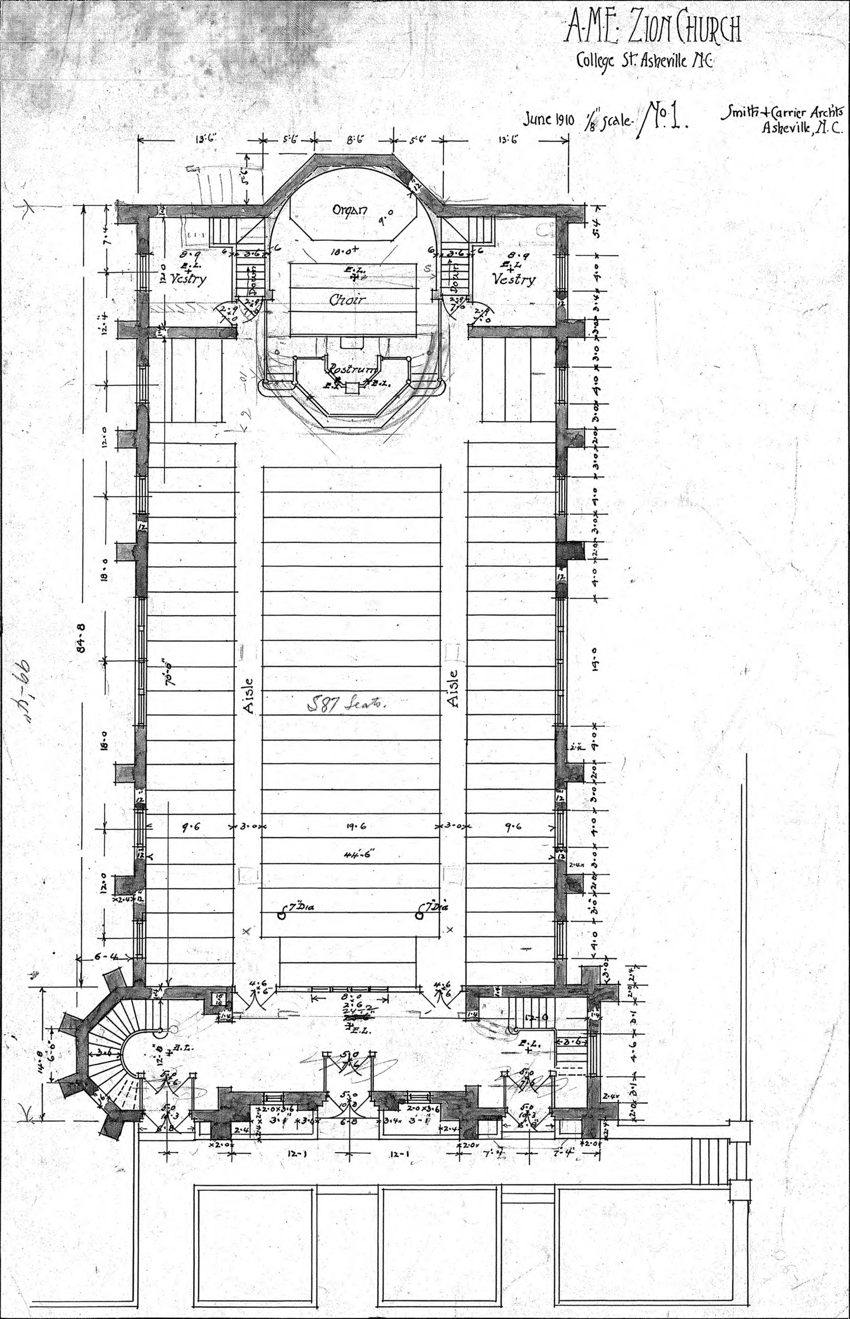 AME Zion Church-- Floor Plan - No. 1