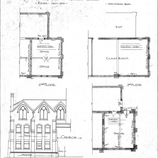 Additions to First Baptist Church Sunday School--Floor Plans Front