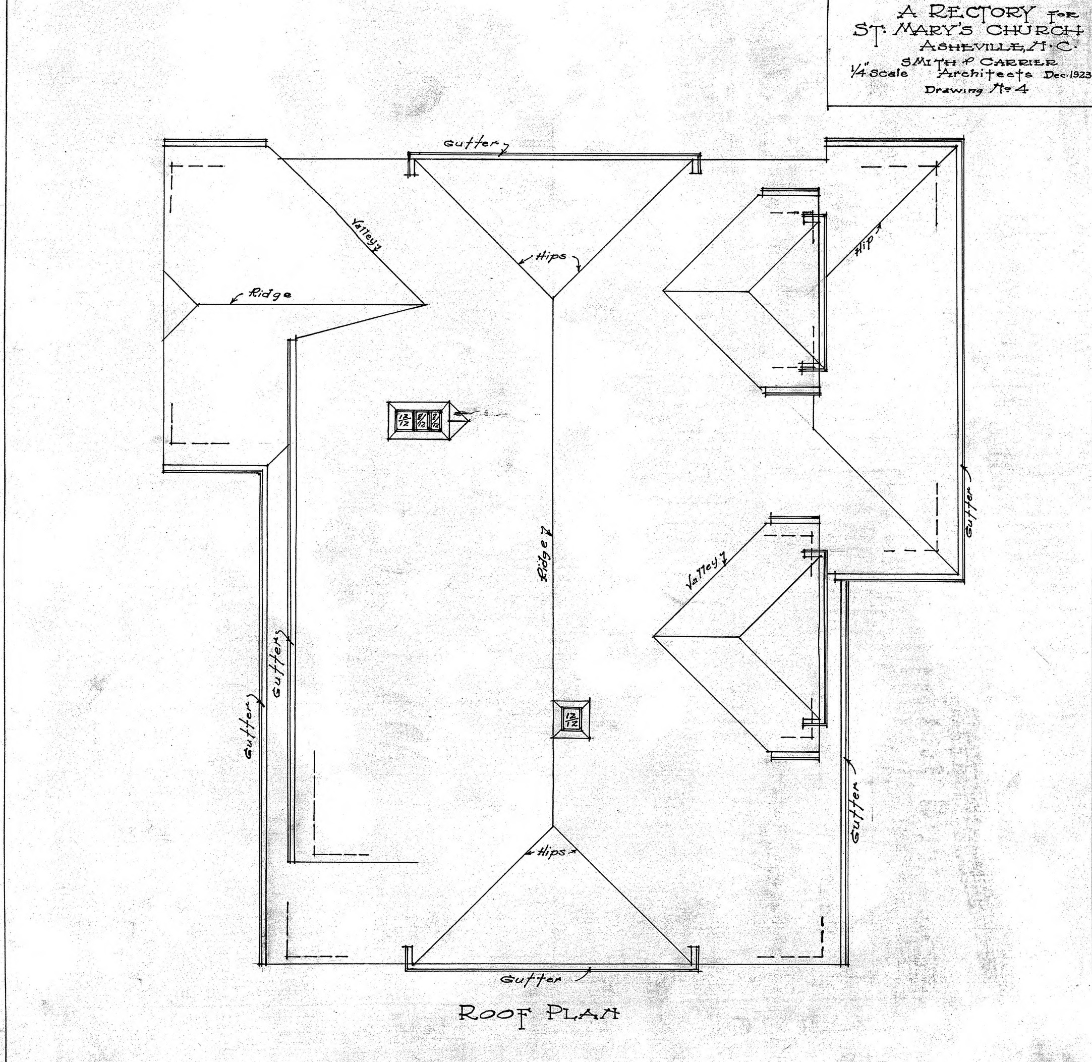 Roof plan working drawing for Flat roof plan drawing