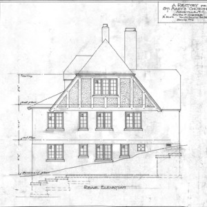 A Rectory For St. Mary's Church --Rear Elevation - Drawing No. 6