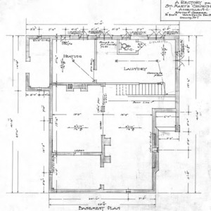A Rectory For St. Mary's Church--Basement Plan - Drawing No. 1