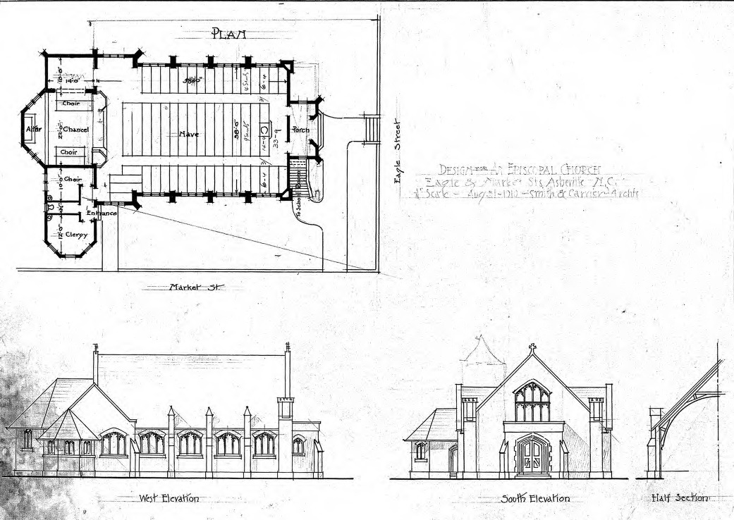 Church Elevation Plan : Design for an episcopal church eagle market st floor