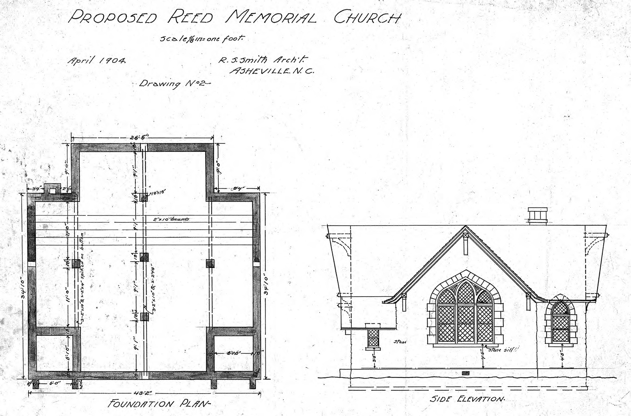 Church Elevation Plan : Proposed reed memorial church foundation plan side