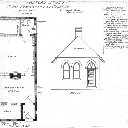 First Presbyterian Church--Pastors Study - Floor Plan - Front & Specifications